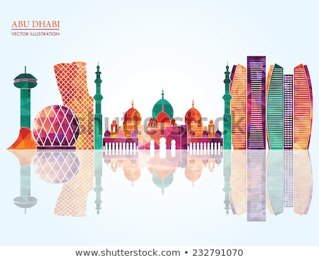 Abu Dhabi City skyline black and white silhouette. Stock photo © ShustrikS