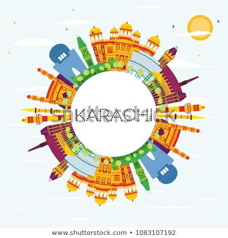 Karachi Skyline bleu espace de copie voyage d'affaires Photo stock © ShustrikS