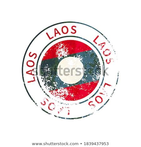 Laosz felirat klasszikus grunge lenyomat zászló Stock fotó © evgeny89