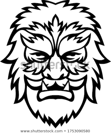 Circus Wolfman or Wolfboy Head Mascot Black and White Stock photo © patrimonio