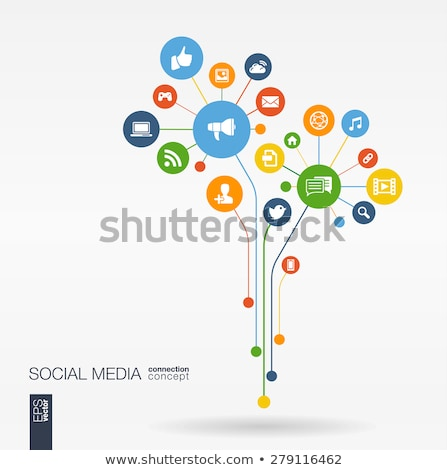 social network tree with media icons stock photo © marish