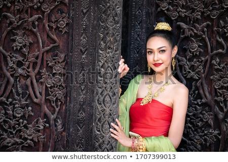 Gyönyörű thai nő természet tavasz arc Stock fotó © gsermek