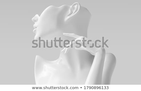 Part of face and bust of beautiful woman