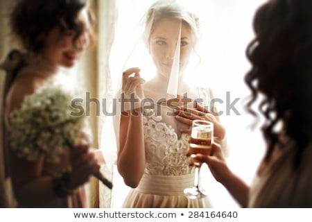 美しい · ブロンド · ベール · 魅力 · 肖像 · レトロな - ストックフォト © zastavkin