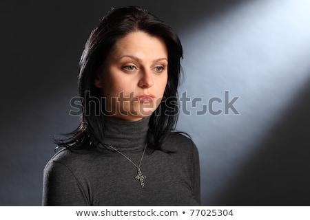 Beautiful young black girl in grey polo neck shirt stock photo © darrinhenry
