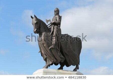 Standbeeld Blauw steen macht geschiedenis Schotland Stockfoto © Hofmeester