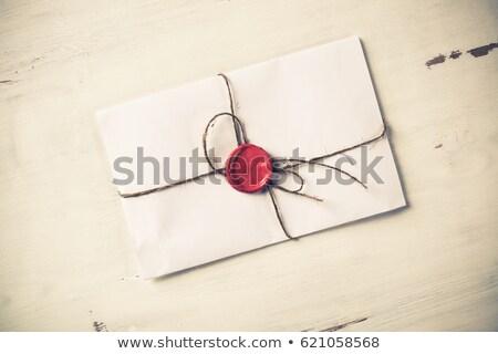 kopercie · czerwony · wosk · pieczęć · blisko · szczegółowy - zdjęcia stock © adrian_n