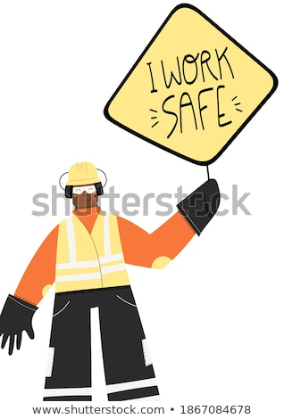 Man in ear defenders with warning signs Stock photo © photography33