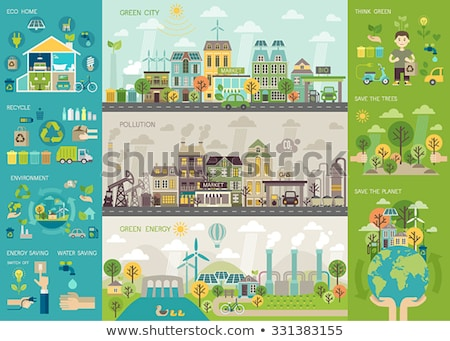 Green ecologic infographic Stock photo © havlin_levente