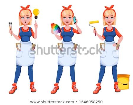 Kadın ressam kadın ev kız inşaat Stok fotoğraf © photography33