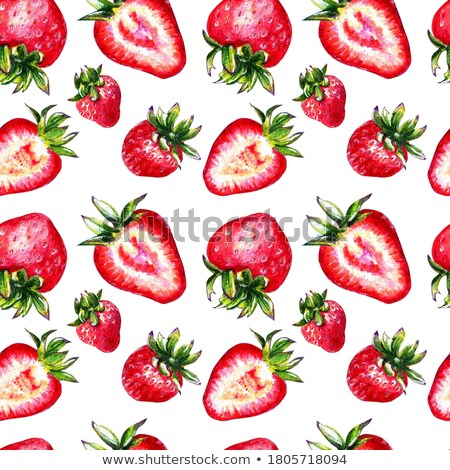 seamless pattern with red strawberryes stock photo © boroda