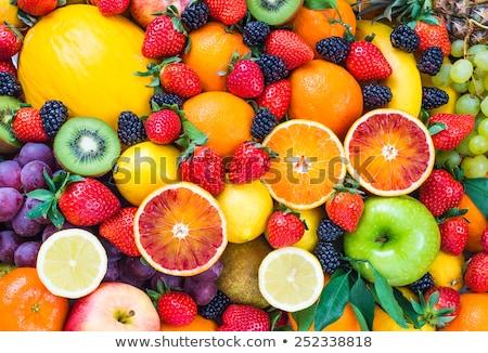 Halom bogyós gyümölcs étel gyümölcs eper cseresznye Stock fotó © M-studio