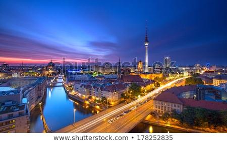 Berlin sziluett éjszaka város fény hotel Stock fotó © visdia