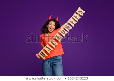 Foto d'archivio: Nice · ragazza · indossare · diavolo · costume · sexy