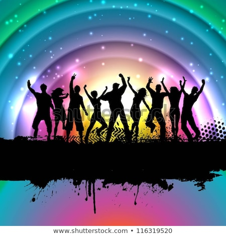 Woman Silhouettes With Rainbow Background Stockfoto © Kjpargeter