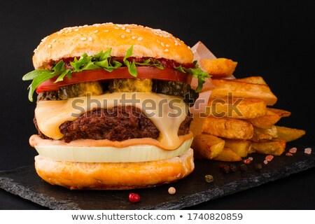 Groot cheeseburger aardappel voedsel salade Stockfoto © moses