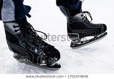 baba · sport · cipők · fából · készült · szöveg · kék - stock fotó © stevanovicigor