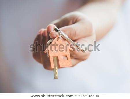 huis · sleutels · hand · gebouw · bouw · Rood - stockfoto © inxti