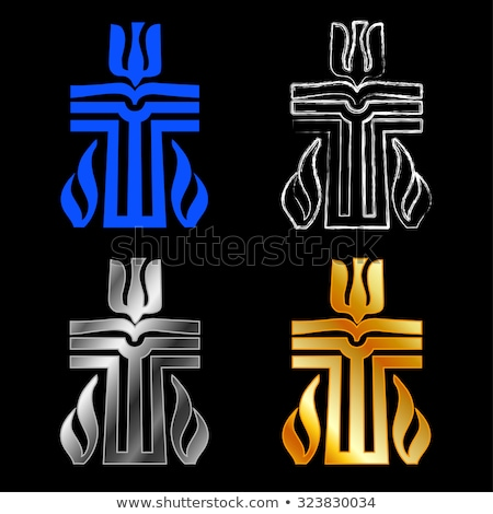 символ религии закат крест горные Церкви Сток-фото © shawlinmohd