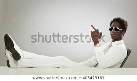 Afroamerikai férfi dohányzás szivar portré fekete Stock fotó © lunamarina