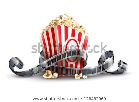 ストックフォト: 紙袋 · ポップコーン · 映画 · リール · 孤立した · 白