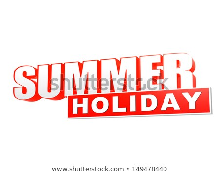 summer holiday orange white banner - letters and block Stock photo © marinini