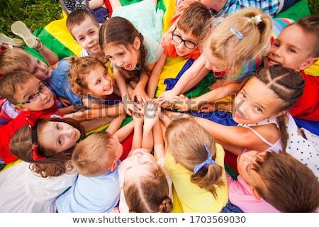 Jongen spelen parachute kind achtergrond Stockfoto © zzve