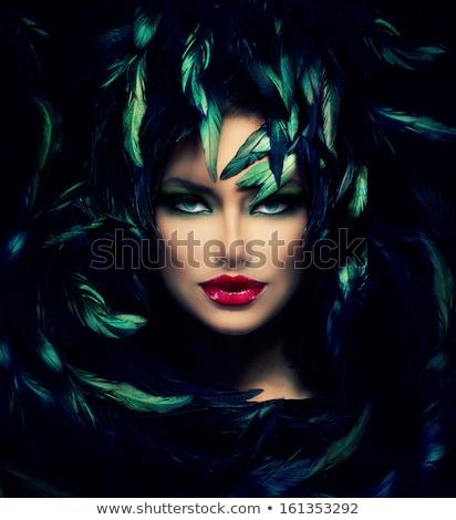 Kadın yüzü portre dumanlı gözler mavi Stok fotoğraf © chesterf