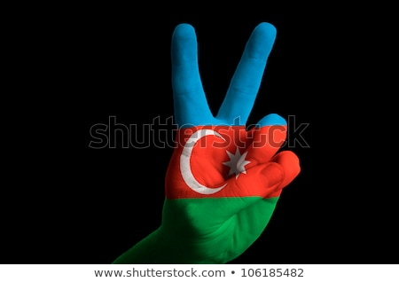 Azerbejdżan banderą dwa palec w górę gest Zdjęcia stock © vepar5