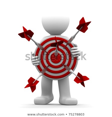 3d character holding a red archery target stock photo © kirill_m