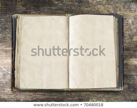 Klasszikus könyv nyitva öreg fa asztal vágási körvonal Stock fotó © oly5