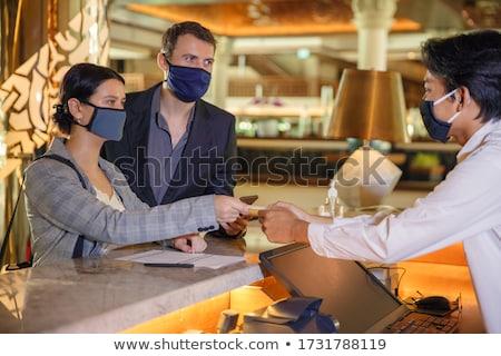 Gast controleren restaurant om diner Rood Stockfoto © devon