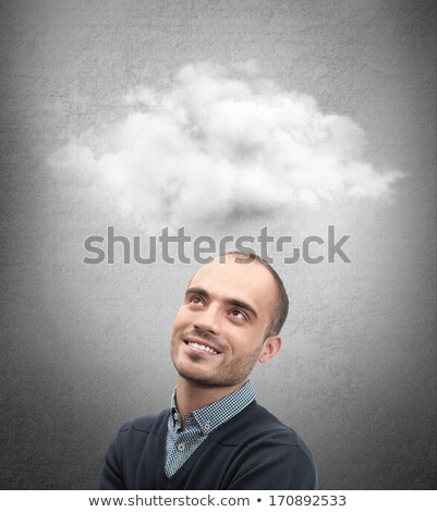 Close up of man looking up for thought bubble above his head wit Stock photo © hasloo