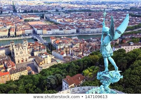 Híres kilátás Lyon katedrális Franciaország templom Stock fotó © vwalakte