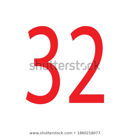 Red number 32 with reflection on a white background Stock photo © Zerbor