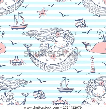 seamless cartoon background with color mermaid stock photo © elmiko