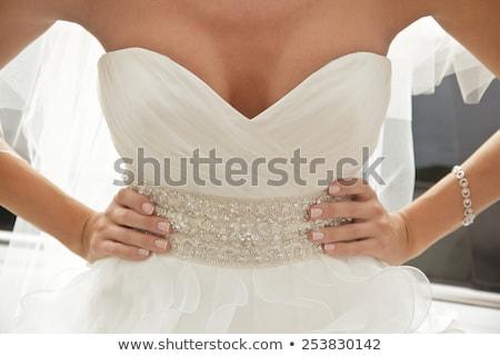 Elegante vrouw halslijn blond witte Stockfoto © dash