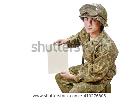young American soldier shows a letter Stock photo © philipimage