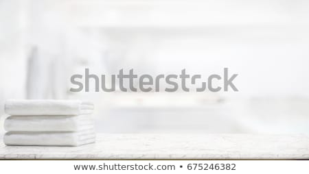 white bathtub in the bathroom with a towel Stock photo © tarczas
