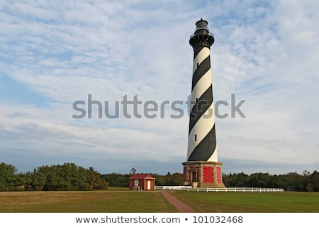 Diagonal black and white stripes mark the Cape Hatteras lighthou Stock photo © alex_grichenko