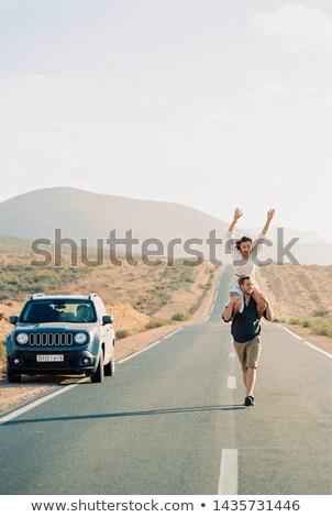 Moço suv carro homem sol Foto stock © monkey_business