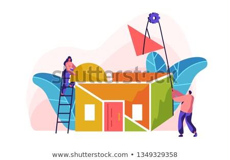 Cartoon colored winch Stock photo © jancaj