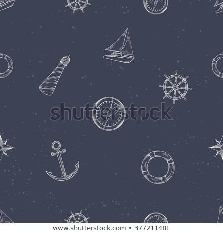 бесшовный морем шаблон лодках стороны Колеса Сток-фото © elenapro