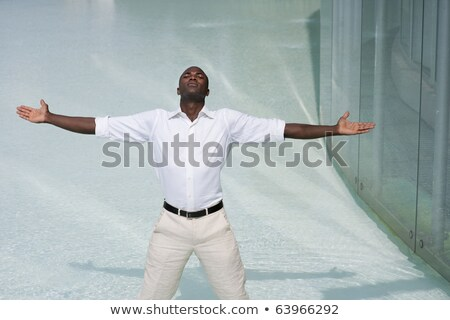 Businessman standing with arms outstretched and day dreaming Stock photo © bmonteny