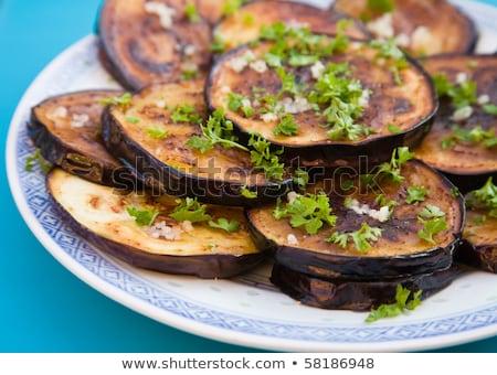 Sült padlizsán fokhagyma vacsora szakács friss Stock fotó © yelenayemchuk