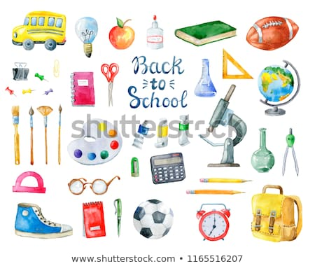 Sketch backpack, watercolors, football ball, book and notebook Stock photo © kali