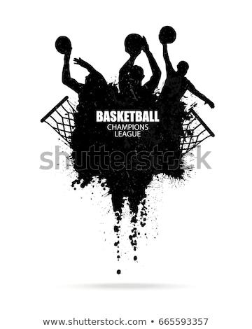Grunge stylu ilustracja boisko do koszykówki sportowe skok Zdjęcia stock © Lizard