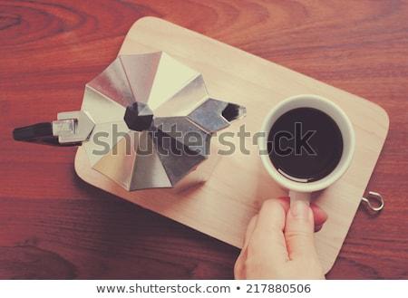Mano tazza di caffè pot retro filtrare Foto d'archivio © happydancing