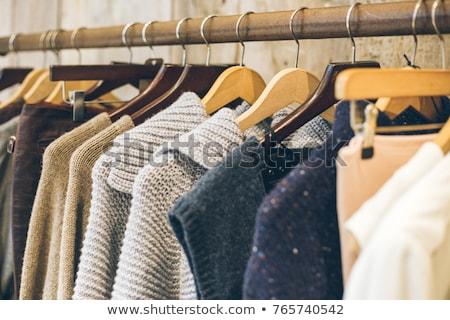 Tricoté cintre rack pas vêtements Photo stock © aetb