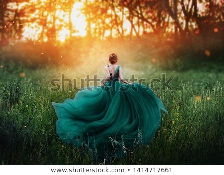 szőke · nő · zöld · ruha · fiatal · pózol · fehér - stock fotó © disorderly